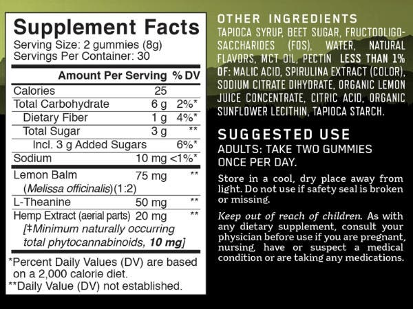 Calm Gummies Nutrition